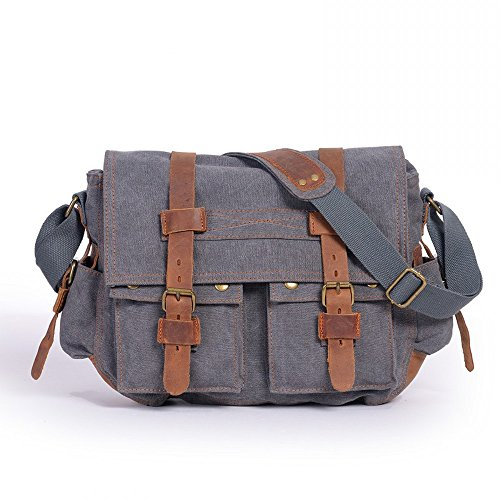 Ambielly Messenger Bags Crossbody Borse per notebook zaino della spalla singolo borse di tela per gli uomini (Grigio)