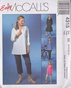 Misses/Miss Petite Maternity Tops, Dress And Pants In Two Lengths McCall's Sewing Pattern 4315 (Size BB: 8-10-12-14)