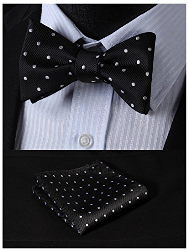 SetSense Men's Polka Dot Jacquard Woven Self Bow Tie Set One Size Black / Silver (Mens Bow Ties Self Tie compare prices)