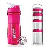 Blender Bottle Portable Nutrition System - SportMixer 28-ounce, GoStak Starter 4-pk (Pink)