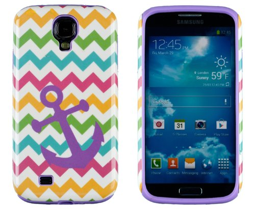 DandyCase 2in1 Hybrid High Impact Hard Nautical Anchor Colorful Chevron Pattern + Purple Silicone Case Cover For Samsung Galaxy S4 i9500 + DandyCase Screen Cleaner