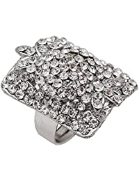 Memoir CZ Studded Silver Plated Diamond Look-alike Hollywood Replica Fashion Ring For Women