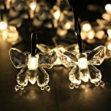 NEWSTYLE 24.6FT 7.5M 40 LED 8 Modes Butterfly Solar Powered Outdoor String Lights For Outdoor - Gardens - Homes - Wedding - Christmas Party - Waterproof (Warm White Color)