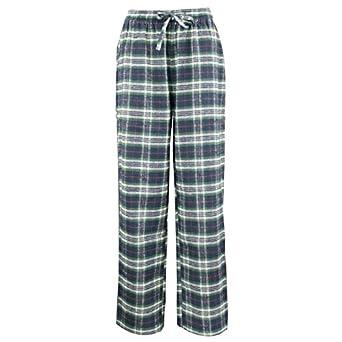 Women's Flannel Pajama Sleepwear Lounge Pants Green Plaid Small