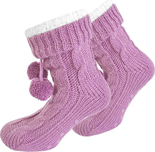 isotoner-pantofole-donna-calzettoni-da-casa-con-morbida-imbottitura-interna-e-pompon-rosa-36-40