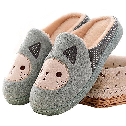Minetom Donne Ragazze Inverno Autunno Pantofole Morbido Felpa Pantofole Cartoon Gatto Scarpe Di Cotone Verde 39
