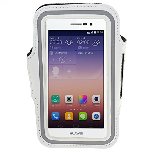 Sports Armband Case For Huawei Ascend P7 / Ascend P6 / Ascend G6 / Ascend D2 / More Huawei Smartphone + Vangoddy Headphone With Mic , Black (White)