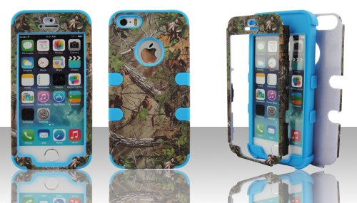Apple iPhone 5 5S Hybrid Defender Impact Case Cover Snap-On Camo Green Tree Real Hunting Blue Gel