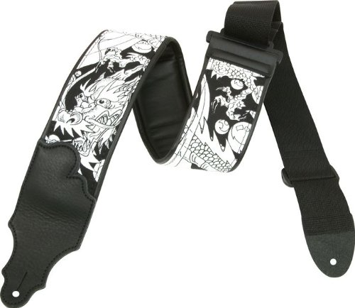Franklin Strap 3 Padded Dragon Guitar Strap with Leather Ends