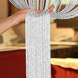TRIXES weiß/silber Fadengardine, Fadenvorhang  Ideal für die Verwendung an Hintertüren um Fliegen fernzuhalten. Perfekt für Wohnzimmer, Schlafzimmer, Bad, Küche, Esszimmer, Kinderzimmer, Home Office, Büro, Konservatorium, Waschküche, Hauswirt...
