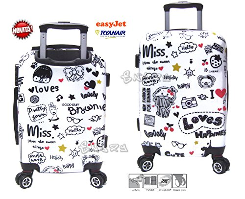 trolley Bagaglio a mano cabina per voli low cost in abs rigido 4 ruote + asta estensibile -loco by crazy shoes (fantasia 6)