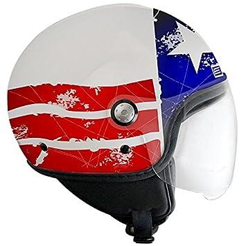 Casque moto jet ORIGINE PRIMO MIO STARS & STRIPES - Visière - Bleu / Blanc / Rouge