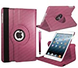 Stuff4 Leather Smart Case with 360 Degree Rotating Swivel Action and Free Screen Protector/Stylus Touch Pen for Apple iPad 2/3/4 - Deep Pink