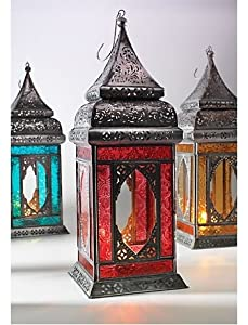 India Moroccan Style Indian Glass Lantern Yellow Home Kitchen