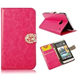 Mavis's Diary Horse Pattern Credit Card Pocket Design Foldable Hot Pink Leather Wallet Type with Magnetic Snap Flip Case Cover and Hard Plastic Back Cover with Soft Clean Cloth for HTC One 801e M7 (One Leaf Magnetic Snap)