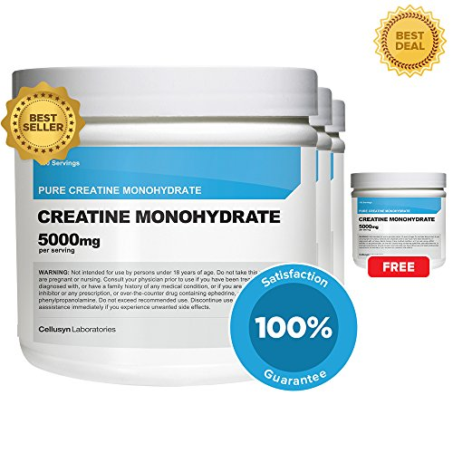 Creatine Monohydrate (3Pack + 1 Free) By Cellusyn - 400 Servings, 500Mg Per Serve - Pure Creatine Monohydrate - Explosive Energy & Power