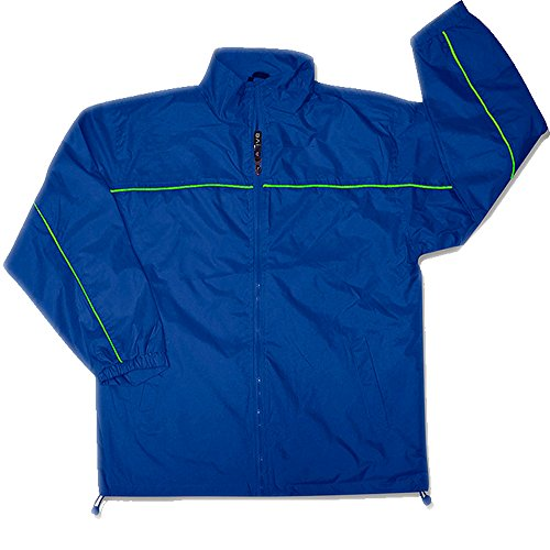 Apparel No. 5 Men's Lightweight Single Piping Windbreaker Jacket,Large,Cobalt/Apple Green