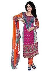 Women Icon Printed Suits in Poly Georgette Fabric & in attractive Orange & Pink Color WICFRT3011