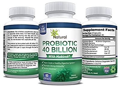 Premium Probiotic 40 Billion Aids a Healthy Immune System & Digestive System - 60 Capsules per Bottle