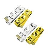 uxcell 巻き尺 テープ測量 1.5m長 ソフトプラスチック ホワイト イエロー 4個