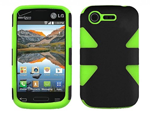 Black & Neon Green Dual Layer Shockproof Hybrid Gel Snap-On Cover Case + Atom Led Keychain Light For Lg Optimus Fuel / L34C