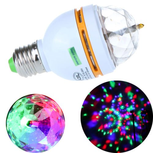E27 Rgb Led Stage Light Bulb Colorful Rotating Chrismas Party Voice-Activated 3W