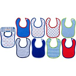 Luvable Friends 8-Pack Drooler Bibs - Blue Assortment