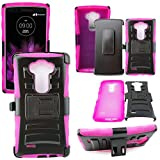 Mstechcorp - Defender Rugged Impact Armor Hybrid Kickstand Cover with Belt Clip Holster Case For LG G Vista VS880 (Verizon / AT&T) - Includes [Wall Charger Data Cable] + [Car Charger Data Cable] + [Touch Screen Stylus] + [2 Data Cables] + [Hands Free Earphone] (H PINK)
