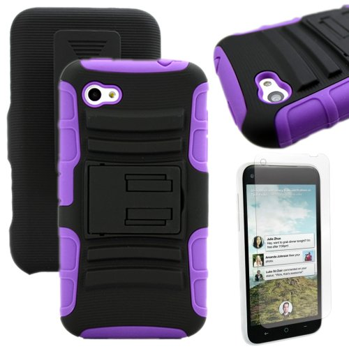 Miniturtle, High Impact Rugged Hybrid Dual Layer Protective Phone Case Cover With Built In Kickstand, Swiveling Holster Belt Clip, And Clear Screen Protector Film For Android Smartphone Htc First Facebook Phone /At&T (Black / Purple)