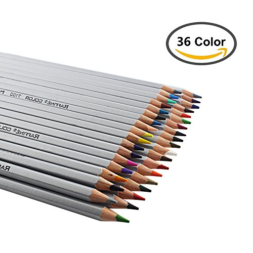 Huhuhero Marco Professional Premium Art Colored Pencils Set For Artist Sketch/ Secret Garden, Recycled Wood Environmentally Friendly Non- Toxic, 36 Assorted Colors
