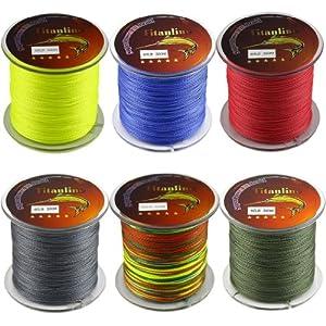 Titanline 6Pcs Different Colors High Grade Fiber PE Briad Fishing Line 60LB 300M... by Titan