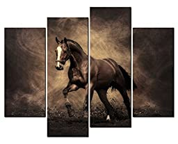 Modern Home Decoration painting Animal Wall Art a Handsome Horse Running on the Land 4 Panel Picture on Canvas
