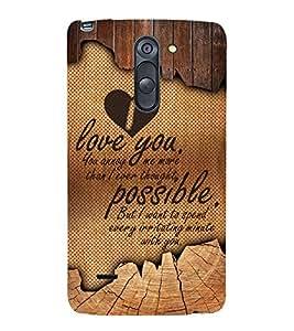 I Love you 3D Hard Polycarbonate Designer Back Case Cover for LG G3 Stylus :: LG G3 Stylus D690N :: LG G3 Stylus D690