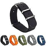 GEMONY NATO Strap 20mm Bracelet de Montre Nylon Watch Band Homme Femme Bracelet Boucle Wrist Watch Deployante 5 Couleurs