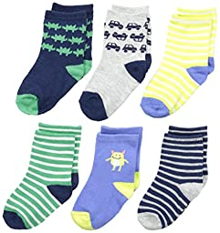 Carter\'s Baby-Boys Newborn 6 Pack Striped Monster Computer Socks, Multi, 3-12 Months