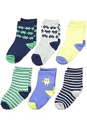 Carter's Baby-Boys Newborn 6 Pack Striped Monster Computer Socks