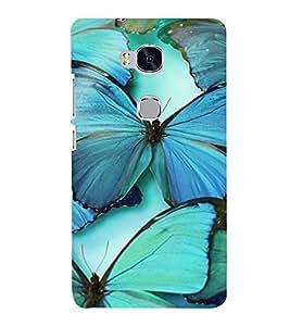 Vizagbeats Cyan Butterflies Back Case Cover for Huawei Honor 5X