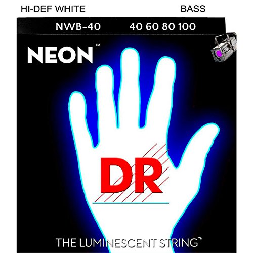 Dr Strings Nwb-40 Dr Neon 4 Bass Guitar String, Light, White