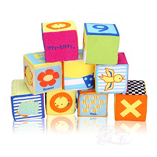 Baby-Cloth-Number-Building-Stack-Blocks-Educational-Toys-Kids-Toy-Rattles-Set-9-Pcs