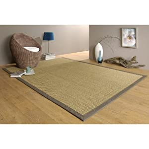 tapis jonc de mer tissage 4x4 160x225 ganse taupe fabriqu en france roubaix. Black Bedroom Furniture Sets. Home Design Ideas