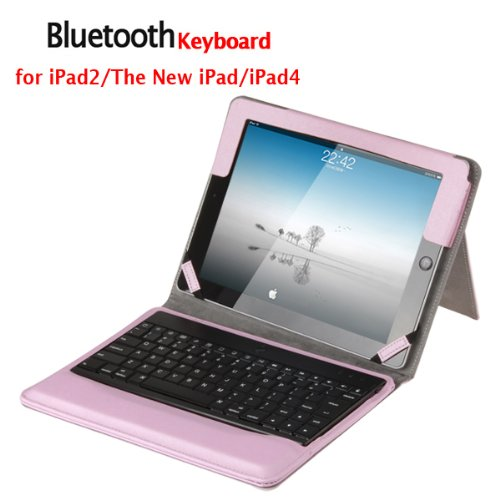 Pink Bluetooth Keyboard & Stylish Protective Case with Stand for iPad 2 / the New iPad / iPad 4