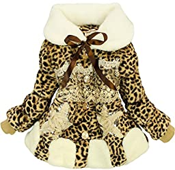 New Baby Girls Kids Toddler Outwear Clothes Winter Jacket Coat Snowsuit Clothing 4T/3-4Years Leopard