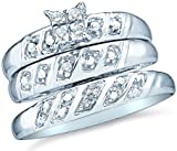 10k White Gold Mens and Ladies Couple His & Hers Trio 3 Three Ring Bridal Matching Engagement Wedding Ring Band Set - Round Diamonds - Princess Shape Center Setting (.08 cttw, H Color, I1 Clarity)