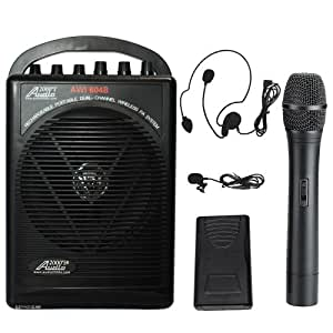 audio2000s wp 604b hl battery powered dual channel wireless microphone portable pa. Black Bedroom Furniture Sets. Home Design Ideas