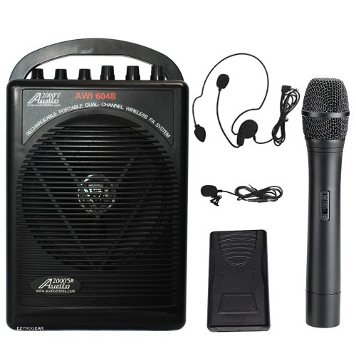 Audio2000S Wp-604B/Hl Battery Powered Dual Channel Wireless Microphone Portable Pa System