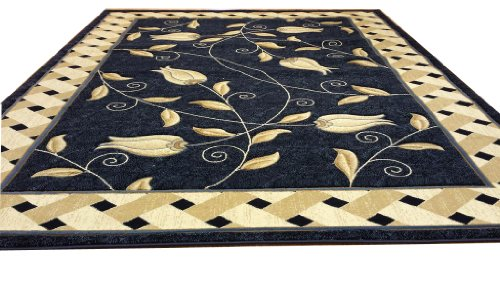 J711 Contemporary Modern Floral Hand Carved Blue 5x8 Actual Size 5'3x7'2 Rug