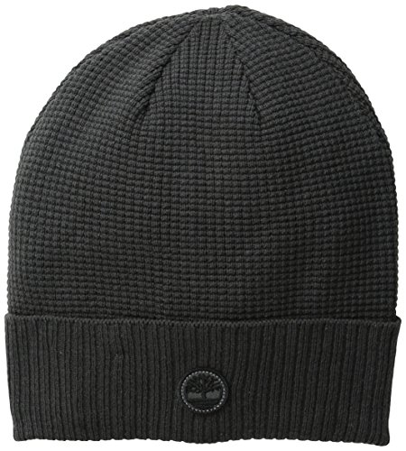 Timberland Men's Waffle Knit Watch Cap with Ribbed Cuff, Charcoal, One Size