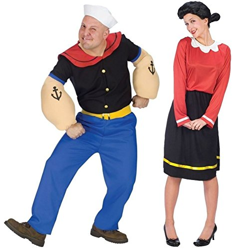 COUPLES POPEYE AND OLIVE OYL ADULT PL COSTUME Theme Party Halloween Most Viewed