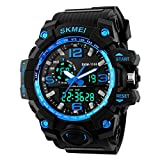 Jelercy Boy Dual Dial Analog Digital LED Quartz Electronic 5 ATM 50M Waterproof Shock Oversized Face Running Sports Watches for Men,Blue