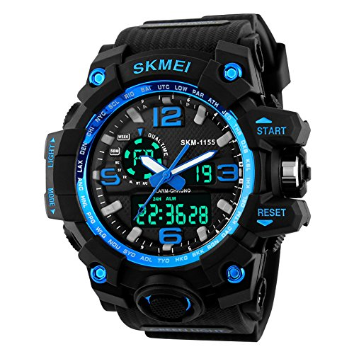 Jelercy Boy Dual Dial Analog Digital Watch 5 ATM 50M Waterproof Shock Oversized Face Running Sports Watches for Men,Blue (Watches Dual Dial compare prices)